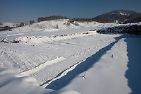 Altai Region, Siberia, Russia, 25/02/2011..Area cleared for foundations at the site of the first casino at the proposed Siberian Coin casino project in the Altai mountains.