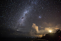The Milky Way rises high above Cape Byron and the most easterly point of the Australian mainland. The bright light to the right of the image is the Cape Byron Lighthouse.