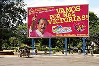 FSLN election billboard showing Daniel Ortega in downtown Managua, Nicaragua