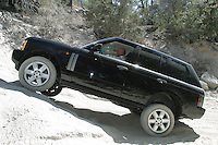 27 July 2002:  Land Rover North America Wheels Event in Lake Arrowhead, CA.   Rover owners take their cars offroading in some rough terrain guided by the A-Team.