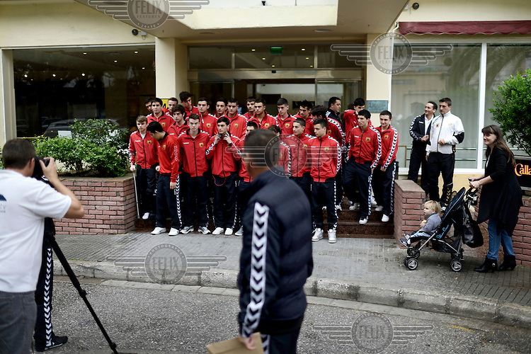 Players from the Gibraltarian under-17 national team  pose for a team photo outside their hotel prior to a match against Northern Ireland played in March 2013. Although the United Nations doesn't recognise Gibraltar as an independent country, UEFA has recognised it and has granted the British Overseas Territory full UEFA membership.