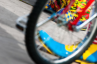 An unicycle and colorful clown shoes seen during the Clown Congress in San Salvador, El Salvador, 18 May 2011. The clown performance is considered a regular job in most of Latin American countries. Clowns may work individually or in groups, often performing advertisement like acts in large open-to-street shops or they take part in private shows, like children birthdays, family events etc. There are many clown conventions all over Latin America where clowns gather and exchange their experiences offering workshops of the comic acting or the art of make-up. For some of them, being clown is a serious lifetime profession.