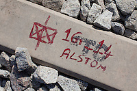ALSTOM markings as seen on-track at the Baiyappanahalli depot station in Bangalore, Karnataka, India on 10th March 2011. .Photo by Suzanne Lee/Abaca Press