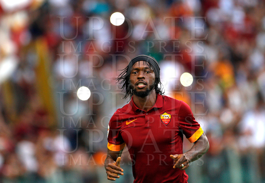 Calcio, amichevole Roma vs Fenerbahce. Roma, stadio Olimpico, 19 agosto 2014.<br /> Roma forward Gervinho, of Ivory Coast, arrives for the team's presentation, prior to the friendly match between AS Roma and Fenerbahce at Rome's Olympic stadium, 19 August 2014.<br /> UPDATE IMAGES PRESS/Riccardo De Luca