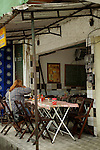 South America, Brazil. Rio de Janiero. Sidewalk Restaurant at Favela of Vila Canoas.