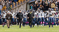 Old Dominion takes the field. The Pitt Panthers defeated the Old Dominion Monarchs 35-24 at Heinz Field, Pittsburgh, Pennsylvania on October 19, 2013.
