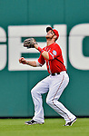 2 September 2012: Washington Nationals' rookie outfielder Bryce Harper guns down a tagging Allen Craig out at the plate on a David Freese fly ball during a game against the St. Louis Cardinals at Nationals Park in Washington, DC. The Nationals edged out the visiting Cardinals 4-3, capping their 4-game series with three wins. Mandatory Credit: Ed Wolfstein Photo