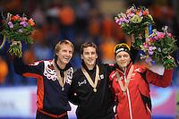 SCHAATSEN: HEERENVEEN: Thialf, Essent ISU World Single Distances Championships 2012, 22-03-2012, Podium 1500m, Ivan Skobrev (RUS), Denny Morrison (CAN), Håvard Bøkko (NOR), ©foto Martin de Jong