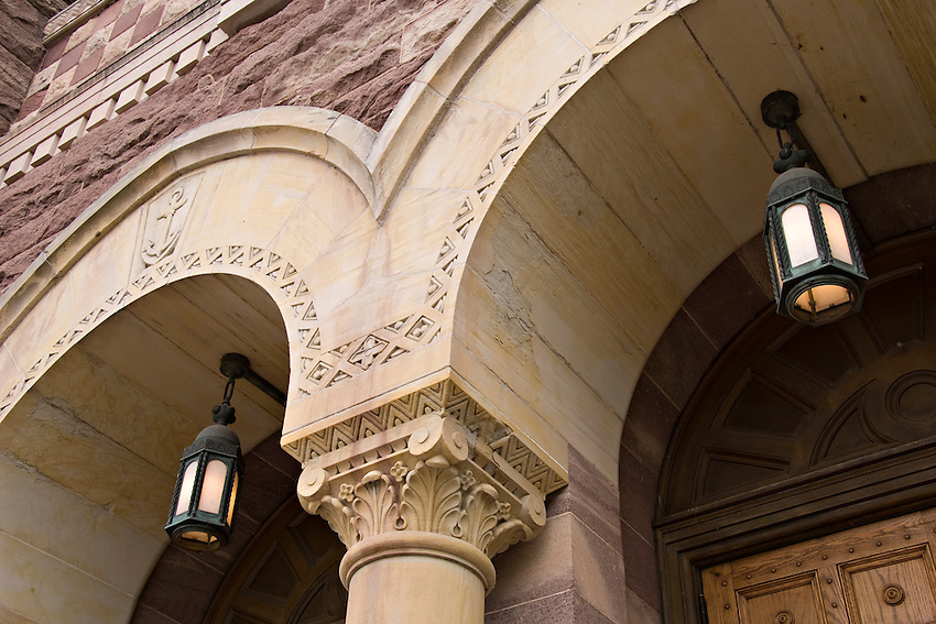 Architectural detail of St. Peter Cathedral in downtown Marquette Michigan.