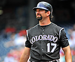 10 July 2011: Colorado Rockies first baseman Todd Helton in action against the Washington Nationals at Nationals Park in Washington, District of Columbia. The Nationals shut out the visiting Rockies 2-0 salvaging the last game their 3-game series at home prior to the All-Star break. Mandatory Credit: Ed Wolfstein Photo
