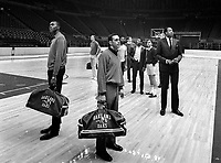 Oakland Oaks team look over the Oakland Alameda County Arena. (1968 photo/Ron Riesterer)