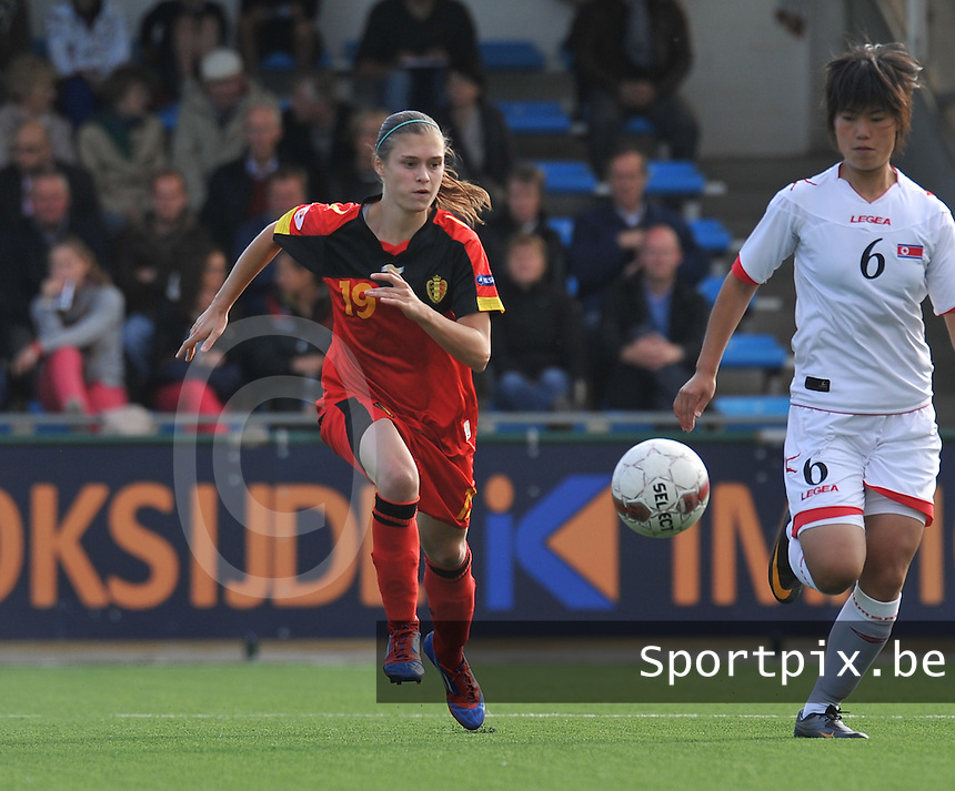 Belgium A - North Korea friendly game at Koksijde KVV Stadium - Belgie - Noord Korea : Anaelle Wiard spurt naar de bal.foto David Catry / Joke Vuylsteke / Vrouwenteam.be