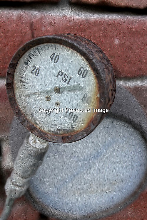 A pair of PSI gauges are found at the shipyards on Mare Island is a peninsula in the United States in the city of Vallejo, California, about 23 miles (37 km) northeast of San Francisco.