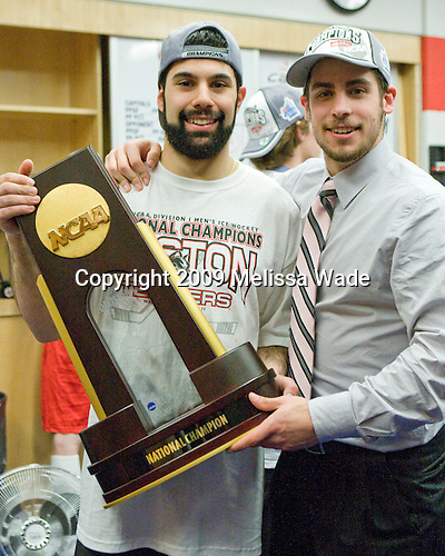 Brian Strait (BU - 7), Ross Gaudet (BU - 22) - The Boston University Terriers defeated the Miami University RedHawks 4-3 in overtime to win the 2009 NCAA D1 National Championship at the Frozen Four on Saturday, April 11, 2009, at the Verizon Center in Washington, DC.
