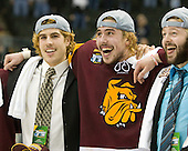 Luke McManus (Duluth - 21), Justin Faulk (Duluth - 25), Cody Danberg (Duluth - 20) - The University of Minnesota-Duluth Bulldogs celebrated their 2011 D1 National Championship win on Saturday, April 9, 2011, at the Xcel Energy Center in St. Paul, Minnesota.