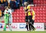 St Johnstone v Partick Thistle&hellip;29.10.16..  McDiarmid Park   SPFL<br />Abdul Osman celebrates at full time with Chris Erskine<br />Picture by Graeme Hart.<br />Copyright Perthshire Picture Agency<br />Tel: 01738 623350  Mobile: 07990 594431