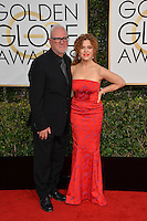 Malcolm McDowell &amp; Bernadette Peters at the 74th Golden Globe Awards  at The Beverly Hilton Hotel, Los Angeles USA 8th January  2017<br /> Picture: Paul Smith/Featureflash/SilverHub 0208 004 5359 sales@silverhubmedia.com