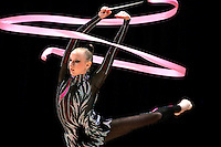 Vera Sessina of Russia (here with ribbon) wins Gold, Silver and Bronze in rhythmic gymnastics apparatus finals at World Games from Duisburg, Germany on July 20-21, 2005.  Event finals in rhythmic gymnastics are only held at World Games. (Photo/Tom Theobald)