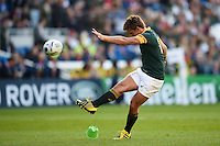 Patrick Lambie of South Africa kicks for the posts. Rugby World Cup Pool B match between South Africa and Japan on September 19, 2015 at the Brighton Community Stadium in Brighton, England. Photo by: Patrick Khachfe / Onside Images