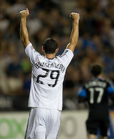 Blake Brettschneider of DC United celebrates Dwayne De Rosario's goal during the second half of the game against the Earthquakes at Buck Shaw Stadium in Santa Clara, California on July 30th, 2011.   DC United defeated San Jose Earthquakes, 2-0.