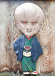 Photo shows a wood carving of a character from manga artist Shigeru Mizuki's work along a street named after the artist in Sakaiminato, Tottori Prefecture, Japan..Photographer: Robert Gilhooly