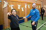 St Johnstone players took some festive cheer to Fairview School in Perth gving out selection boxes and gifts to the pupils&hellip;Alan Mannus dancing with Jordan a secondary school pupil<br />Picture by Graeme Hart.<br />Copyright Perthshire Picture Agency<br />Tel: 01738 623350  Mobile: 07990 594431