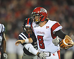 Louisiana-Lafayette's Brad McGuire (8) is sacked in Oxford, Miss. on Saturday, November 6, 2010. Ole Miss won 43-21.
