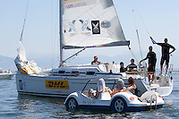 Torvar Mirsky's crew get overtaken at Match Race Germany 2010. World Match Racing Tour. Langenargen, Germany. 24 May 2010. Photo: Gareth Cooke/Subzero Images/WMRT