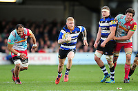 Tom Homer of Bath Rugby goes on the attack. Aviva Premiership match, between Bath Rugby and Harlequins on February 18, 2017 at the Recreation Ground in Bath, England. Photo by: Patrick Khachfe / Onside Images