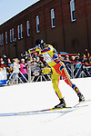 With a comfortable 40 second lead on the nearest competitor, Ivan Babikov makes the final push to win the 2008 Subaru American Birkebeiner on Saturday, Feb. 23. Crowds line the streets in downtown Hayward, Wis., ringing cowbells and cheering on the racers.