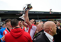 Lincoln City's Matt Rhead celebrates with the Vanarama National League trophy<br /> <br /> Photographer Chris Vaughan/CameraSport<br /> <br /> Vanarama National League - Lincoln City v Macclesfield Town - Saturday 22nd April 2017 - Sincil Bank - Lincoln<br /> <br /> World Copyright &copy; 2017 CameraSport. All rights reserved. 43 Linden Ave. Countesthorpe. Leicester. England. LE8 5PG - Tel: +44 (0) 116 277 4147 - admin@camerasport.com - www.camerasport.com