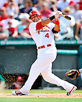 3 March 2011: St. Louis Cardinals' catcher Yadier Molina in action during a Spring Training game against the Washington Nationals at Roger Dean Stadium in Jupiter, Florida. The Cardinals defeated the Nationals 7-5 in Grapefruit League action. Mandatory Credit: Ed Wolfstein Photo
