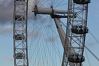 The London Eye, London, UK , designed by David Marks and Julia Barfield, opened 2000 to celebrate the Millenium, stands 135 metres high on the banks of the River Thames. The rim is supported by tie rods; each of the 32 capsules represents a London borough. Picture by Manuel Cohen