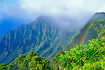 Rainbow over Kalalau Valley from Kalalau Lookout, Na Pali Coast, Kokee State Park, Kauai, Hawaii USA
