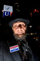 SAINT PAUL, MN - September 3, 2008: A sad Republican President Abraham Lincoln look-a-like on the floor on of the 2008 Republican National Convention in St. Paul, Minnesota.
