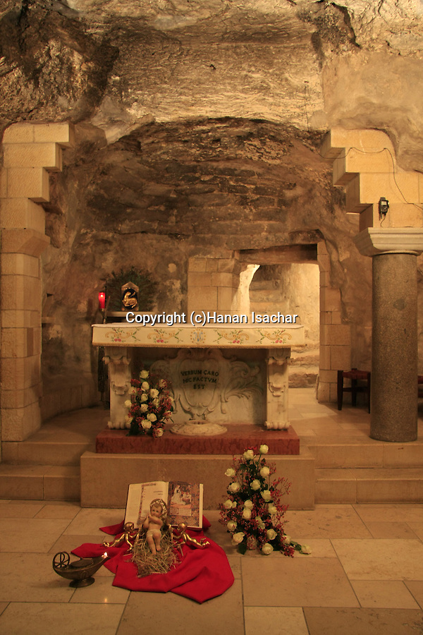 Israel, Lower Galilee, the Grotto of the Annunciation at the Church of the Annunciation in Nazareth