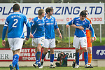 St Johnstone v Dundee Utd....21.04.12   SPL.Fran Sandaza is pulled away from Jamie Adams by John Daly after being sent off.Picture by Graeme Hart..Copyright Perthshire Picture Agency.Tel: 01738 623350  Mobile: 07990 594431