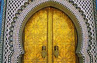 Gilt bronze portals of the Monumental Gate, Palais Royal (Royal Palace), Fes el-Jdid, Fez (Fes), Morocco