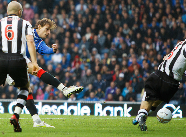 Nikica Jelavic fires in the opening goal of the match to put Rangers ahead