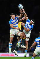 Pablo Matera and Javier Ortega Desio of Argentina look to claim the ball in the air. The Rugby Championship match between Argentina and Australia on October 8, 2016 at Twickenham Stadium in London, England. Photo by: Patrick Khachfe / Onside Images