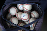 WAKE FOREST, NC - APRIL 15: A bag of Notre Dame practice baseballs. The Wake Forest Demon Deacons hosted the University of Notre Dame Fighting Irish on April 15, 2017, at David F. Couch Ballpark in Wake Forest, NC in a Division I College Baseball game. Wake Forest won the game 13-7.