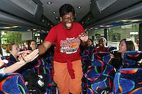 SAN ANTONIO, TX - APRIL 4:  Evon Asforis ('85-'89) on the team bus before Stanford's 73-66 win over Oklahoma in the Final Four semi-finals at the Alamo Dome on April 4, 2010 in San Antonio, Texas.