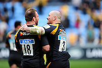 Lorenzo Cittadini and Jake Cooper-Woolley of Wasps have a laugh after the match. Aviva Premiership match, between Wasps and Northampton Saints on April 3, 2016 at the Ricoh Arena in Coventry, England. Photo by: Patrick Khachfe / JMP