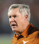 Texas head coach Mack Brown reacts to a penalty on the Longhorns during their game against Mississippi at Vaught-Hemingway Stadium in Oxford, Miss. on Saturday, September 15, 2012. (AP Photo/Oxford Eagle, Bruce Newman)
