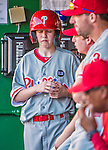 23 May 2015: Philadelphia Phillies guest Bat Boy John Proefrock stands in the dugout during a game against the Washington Nationals at Nationals Park in Washington, DC. The Phillies defeated the Nationals 8-1 in the second game of their 3-game weekend series. Mandatory Credit: Ed Wolfstein Photo *** RAW (NEF) Image File Available ***