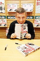 NO REPRO FEE. 8/10/2011.Eason, Ireland's leading retailer of books, stationery, magazines and lots more, hosted a book signing by comedian Des Bishop. Pictured at Eason O'Connell Street, Dublin is Des Bishop who signed copies of his new book My Dad was nearly James Bond. Follow Eason on Twitter - @easons For further information, please contact: Aoife McDonald WHPR 087 4100777 Picture James Horan/Collins Photos