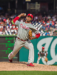 15 September 2013: Philadelphia Phillies pitcher J.C. Ramirez on the mound against the Washington Nationals at Nationals Park in Washington, DC. The Nationals took the rubber match of their 3-game series 11-2 to keep Washington's wildcard hopes alive. Mandatory Credit: Ed Wolfstein Photo *** RAW (NEF) Image File Available ***