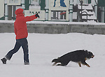 A West Seattle resident plays frisbee with her dog after a snowstorm hit the Seattle area early morning dumping at least 4 to six inches and will likely continue into the afternoon it a tough commute for drivers  in Seattle on January 18, 2012. ©2012. Jim Bryant Photo. All Rights reserved