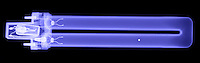 An X-Ray of a fluorescent light.  This compact design is used in emergency exit signs.