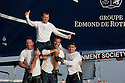 Extreme Sailing Series 2011. Act 1. Muscat. Oman.Picture shows Groupe Edmond De Rothschild celebrating after winning. Skipper Pierre Pennec with teammates Christophe Espagnon,Thierry Fouchier and Herve Cunningham